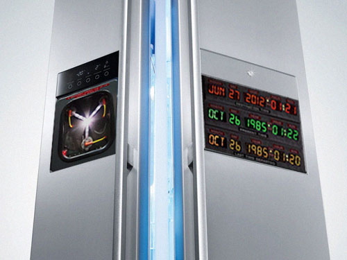 back to the future time machine refrigerator